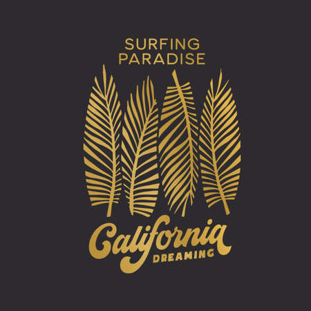 California state t-shirt design with surfboards. Vector illustration. Иллюстрация