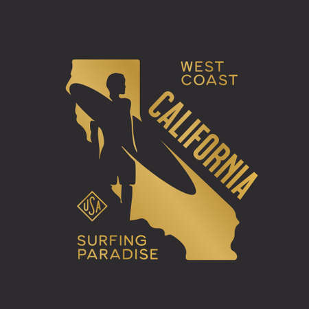 California state t-shirt design with surfer silhouette