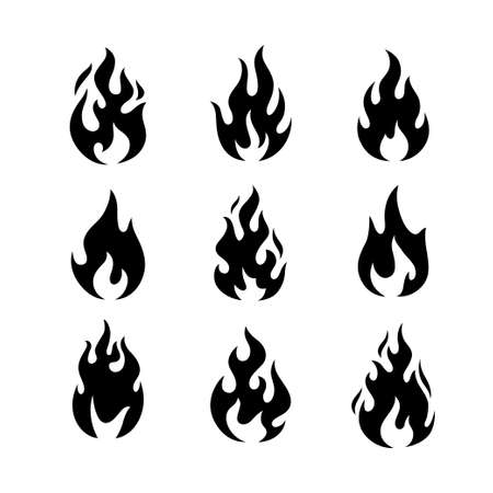 Fire flames logo templates icons set.
