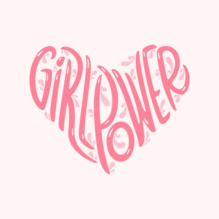 Girl Power heart shaped typography. Woman motivational slogan.