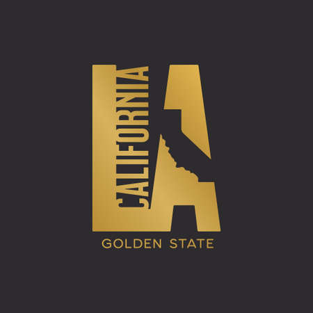 California state Los Angeles t-shirt design typography.