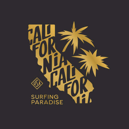 California state t-shirt design with palms and typography inscription. Surfing paradise text. Golden colored apparel print. Vector vintage illustration. Иллюстрация