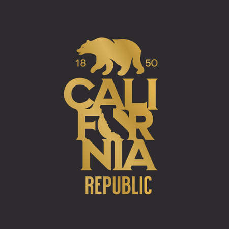 California republic t-shirt design with grizzly bear. Vector illustration. Иллюстрация