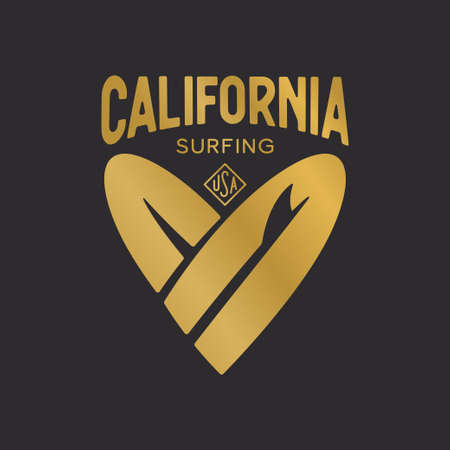 California state t-shirt design with heart shaped surfboards. Golden colored apparel print. Vector vintage illustration.