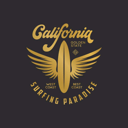 California state t-shirt design with surfboard and wings. Surfing paradise text.