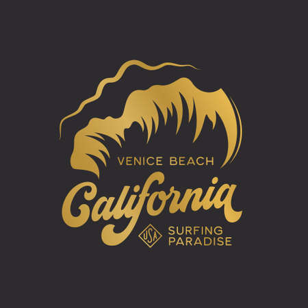 California state t-shirt design with high waves. Surfing paradise text. Golden colored apparel print. Vector vintage illustration.
