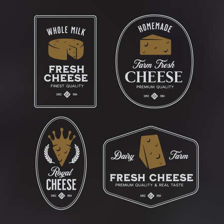 Cheese labels set. Vector vintage illustration. Illustration