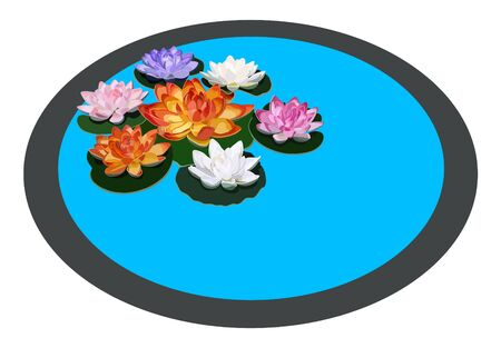 Seven colored water lilies into a circle Vector
