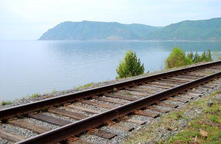 Old railroad on the coast of lake Stock Photo - 3158848