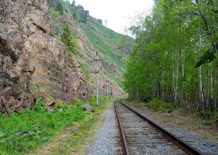 Old railroad on the coast of Baikal lake photo