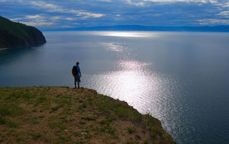 Calm Baikal lake Stock Photo