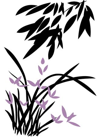 Branch of bamboo and grass  Vector