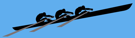 Rowing, three persons, side view.  Vector