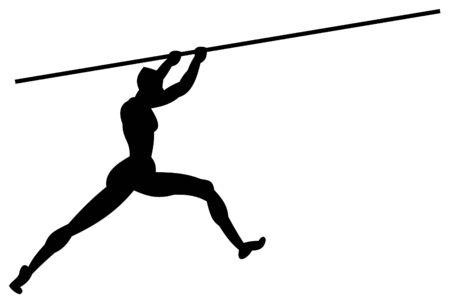 long jump: Pole vault, start.