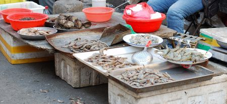 corpses: Fish market. Heap of the seafood.