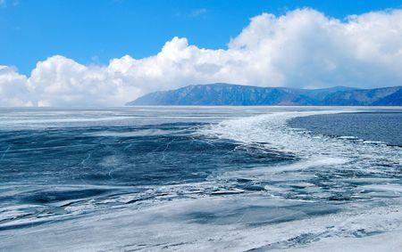 Melting ice. Lake Baikal.  photo
