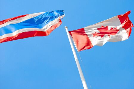 Flags of Canada and Thailand  photo