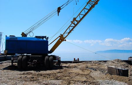 listvyanka: Construction place.  Lake Baikal, Russia.