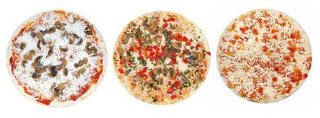 unprepared: Three kinds of unprepared pizzas