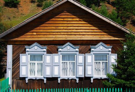 listvyanka: Part of the wooden house. Russia.
