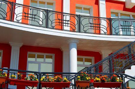 listvyanka: Part of the hotel.  Listvyanka settlement, Lake Baikal, Russia.  Stock Photo