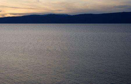Sunset. Lake Baikal. Olkhon island.  photo