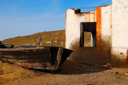 Destroyed building. Part of the abandoned boat. Stock Photo - 5638730