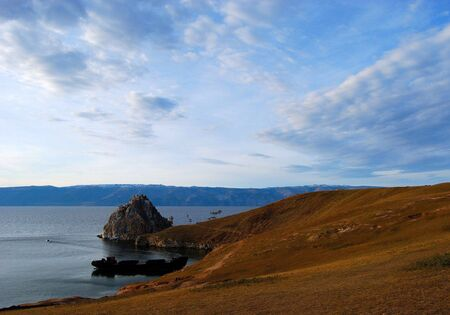 Lake Baikal. Olkhon island. Cape Burkhan. Twilight.  photo