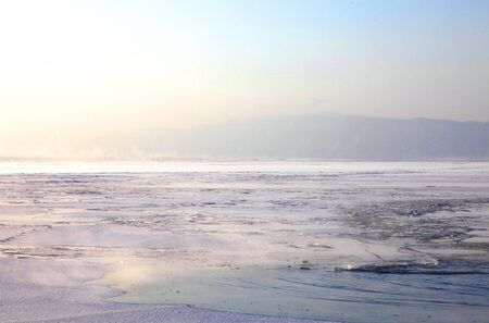Frozen Lake Baikal. Twilight. photo