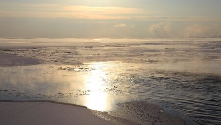 Frozen Lake Baikal in winter. Sunset. Nobody. Stock Photo - 6272484