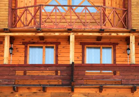 Part of wooden house. Close up.  photo
