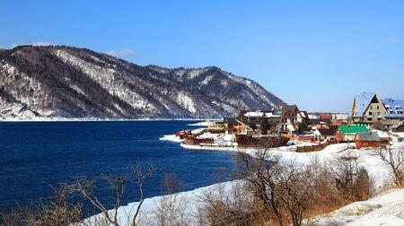 settlement: Group of houses. Listvyanka settlement, Lake Baikal, Russia.