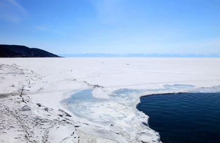 Melting Lake Baikal in spring. Day. Nobody.  Stock Photo - 6845456