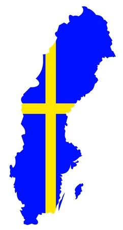Swedish map. Illustration.  Vector