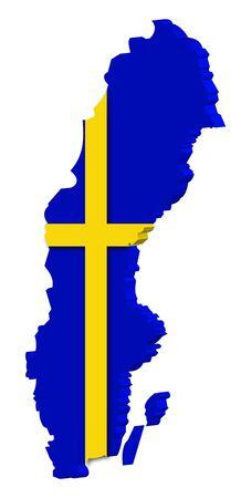 swedish: Swedish map Stock Photo
