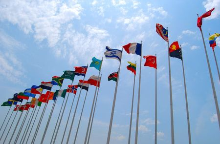 Group of flags against cloudy sky. Nobody. Stock Photo - 6967906