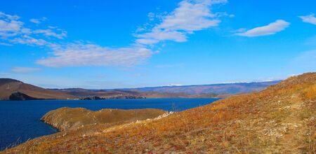 Lake Baikal. Autumn. Mountains on horizon. Day.  photo