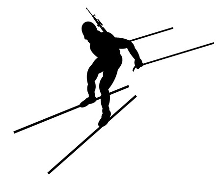 move gun: Biathlon competitor. Illustration. Side view.