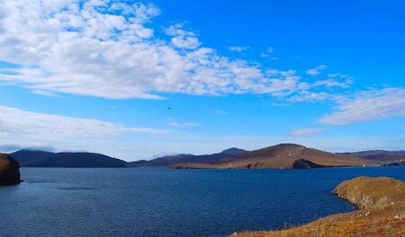Lake Baikal. Autumn. Mountains on horizon. Nobody.  photo