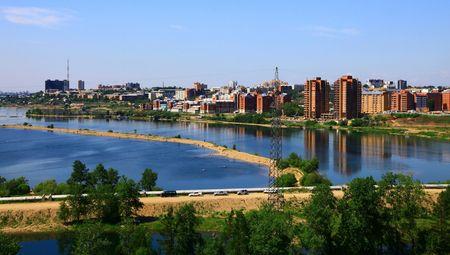 Irkutsk, Russia in summer. Panoramic view. Day.