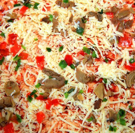 unprepared: Unprepared vegetarian pizza. Close up.  Stock Photo