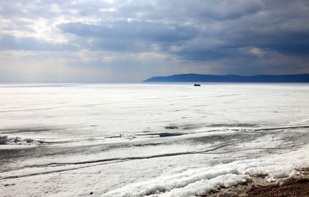 Frozen Lake Baikal in winter. Day. Nobody. Stock Photo - 7427538
