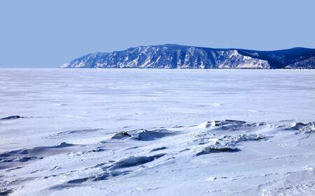 Ice dessert. Frozen Lake Baikal. Winter. Day.  photo