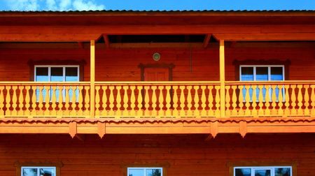 Part of the Wooden house. Close up.  photo