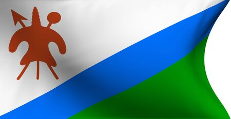 lesotho: Flag of Lesotho against white background. Close up.