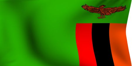 Flag of Zambia against white background. Close up.  photo