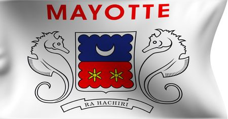 collectivity: Flag of Departmental Collectivity of Mayotte against white background. Close up.