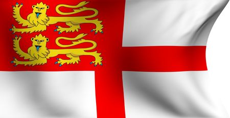 Flag of Sark against white background. Close up.  photo