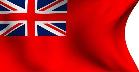 ensign: Civil ensign of UK flag against white background. Close up.