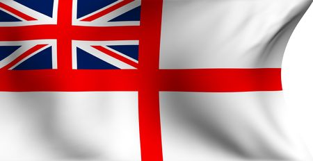 ensign: Naval ensign of UK flag against white background. Close up.